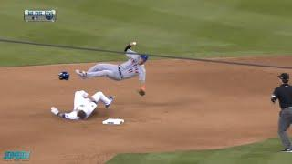 Chase Utley breaks up the double play and Rubén Tejada's leg, a breakdown