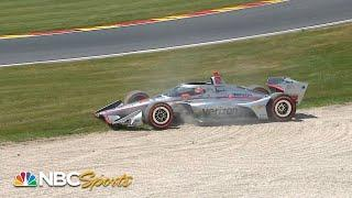 Will Power spins through grass during IndyCar Grand Prix at Road America Race 2 | Motorsports on NBC