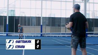 Kevin Shattenkirk takes on Braydon Coburn in a game of pickleball inside the Toronto Bubble