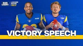 Listen as Sean McVay Awards Game Balls to QB John Wolford & The Defense | Victory Speech