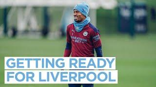 FIRST TEAM TRAINING   GETTING READY FOR LIVERPOOL