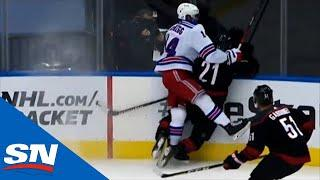 Greg McKegg Charges Into Nino Niederreiter Straight Against the Boards