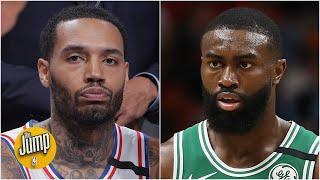 Jaylen Brown & Mike Scott are not happy with the NBA's social justice list for jerseys | The Jump