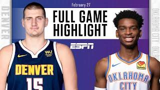 Nikola Jokic records triple-double for Nuggets vs. Thunder [FULL GAME HIGHLIGHTS] | NBA on ESPN