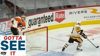 GOTTA SEE IT: Crosby Shows Off Hand-Eye Coordination After Carter Hart Misplays Puck
