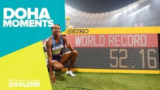 Dalilah Muhammad's 400m Hurdles World Record | World Athletics Championships 2019 | Doha Moments