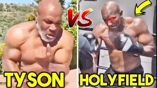 *NEW* MIKE TYSON vs EVANDER HOLYFIELD TRAINING SIDE BY SIDE COMPARISON (HEAVY BAG, PADS, SPARRING)