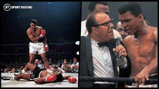 Muhammad Ali watches back and commentates on his Sonny Liston knockout