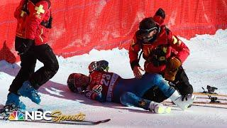 Four BRUTAL crashes on treacherous day at Val d'Isere downhill | NBC Sports