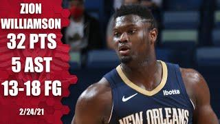Zion Williamson drops 32 in first game after being named an All-Star [HIGHLIGHTS] | NBA on ESPN