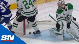 Puck Takes Double Deflection Off Yanni Gourde And Roope Hintz For Weird Lightning Goal