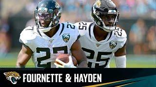 Leonard Fournette and D.J. Hayden meet with the Media During Jaguars Training Camp