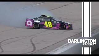 Jimmie Johnson wrecks while leading The Real Heroes 400 from Darlington   NASCAR Cup Series