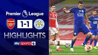 Jamie Vardy scores late equaliser after Nketiah red card | Arsenal 1-1 Leicester | EPL Highlights