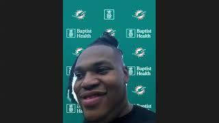 Robert Hunt meets with the media following his selection. | Miami Dolphins