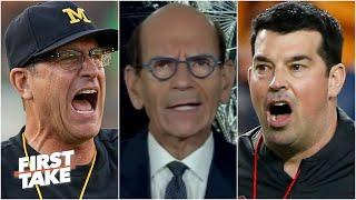 This is petty! - Paul Finebaum on Jim Harbaugh accusing Ryan Day of breaking rules | First Take