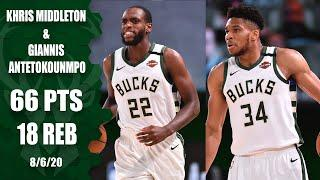 Giannis Antetokounmpo and Khris Middleton's  highlights from Heat vs. Bucks | 2019-20 NBA Highlights