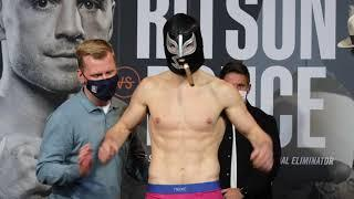 JOSEPH LAWS WEIGHS IN WITH SIGNATURE MASK AND CUBAN CIGAR AHEAD OF CHRIS ADAWAY CLASH / NEWCASTLE