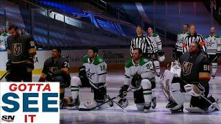GOTTA SEE IT: Stars & Golden Knights Players Kneel For National Anthems