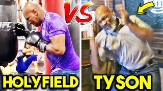 MIKE TYSON vs EVANDER HOLYFIELD TRAINING SIDE BY SIDE FOR BOXING COMEBACK! HEAVY BAG, PADS, SPARRING