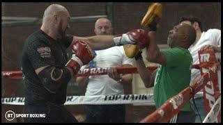 Previously unseen! Extended footage from Tyson Fury's pads session before Wilder v Fury 2