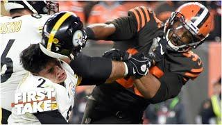Reacting to Myles Garrett calling his fight vs. Mason Rudolph 'a small bump in the road'  First Take