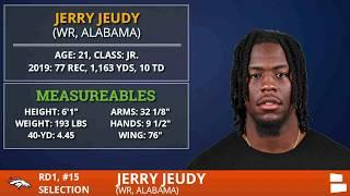 Jerry Jeudy From Alabama Selected By Denver Broncos With Pick #15 In 1st Round Of 2020 NFL Draft