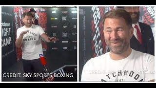 EDDIE HEARN DOESN'T REALISE HE'S ON LIVE TV & SWEARS - GETS IMMEDIATELY EMBARRASSED AFTER BLUNDER