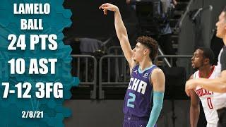 LaMelo Ball hits career-high 7 3-pointers in Hornets' big win vs. Rockets [HIGHLIGHTS] | NBA on ESPN