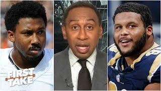 Stephen A. doesn't like that Myles Garrett is paid more than Aaron Donald | First Take