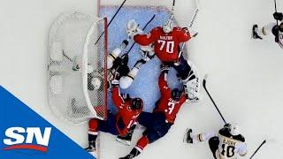 Braden Holtby Leaps Over Multiple Players In Crease To Rob Nick Ritchie Of Goal