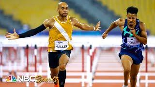 Iowa's Aaron Mallet hammers home 110m hurdle win in Doha | NBC Sports