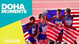 USA Take 4x400m Women's Gold | World Athletics Championships 2019 | Doha Moments