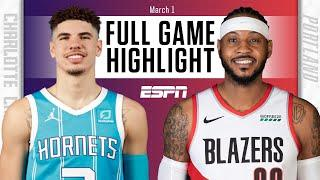 Melo vs. Melo: LaMelo Ball, Carmelo Anthony duel in Hornets vs. Blazers [HIGHLIGHTS]   NBA on ESPN