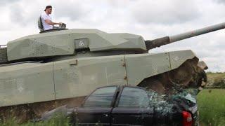 DEMOLITION DERBY!! - ZACH PARKER CRUSHES CAR IN CHIEFTAIN TANK / JULY 10TH MEDIA DAY