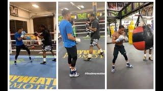 FLOYD MAYWEATHER TRAINING DEVIN HANEY, GIVES HIM ADVICE IN THE MIDDLE OF THE NIGHT AT MAYWEATHER GYM