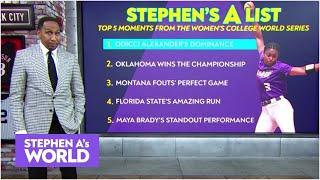 Stephen A.'s TOP 5️⃣ moments from the WCWS | Stephen A.'s World