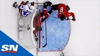 T.J. Oshie Plays Goalie And Clears Puck Away With His Glove
