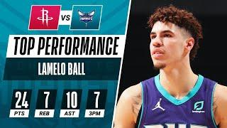 LaMelo Ball (24 PTS, 10 AST) Drains A Career-High 7 Threes In Hornets W!