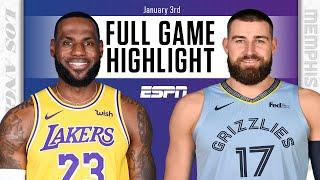 Los Angeles Lakers vs. Memphis Grizzlies [FULL GAME HIGHLIGHTS]   NBA on ESPN