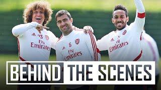 Pepe and Lacazette practice free-kicks   Behind the scenes at Arsenal training centre