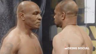 TYSON IN FIGHT MODE! MIKE TYSON AND ROY JONES JR ICE COLD FACE OFF AHEAD OF EXHIBITION SHOWDOWN