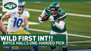 CRAZY FIRST PICK: Bryce Hall Snags First Career INT With One Hand   New York Jets   NFL