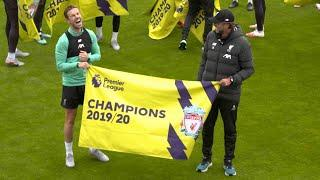 Liverpool presented with Premier League champions flags at Melwood