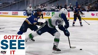 GOTTA SEE IT: Bo Horvat Absolutely Flies Around Blues' Defence To Score