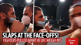 Slaps at the face-offs! It kicks off at the UFC weigh-ins