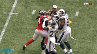Aaron Donald and Devonta Freeman get into a little scuffle, a breakdown