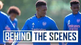 Balogun, Martinelli, & Nketiah with some top finishes   Behind the scenes at Arsenal training centre