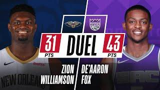 Zion Williamson (31 PTS & 13-15 FGM) & De'Aaron Fox (43 PTS & 13 AST) DUEL In Sacramento!