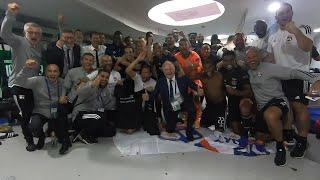 Lyon's dressing room celebration after shocking the world with Man City win in the Champions League
